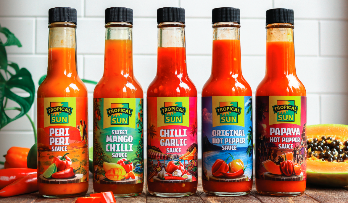 Tropical Vibes Table Sauces Lined Up