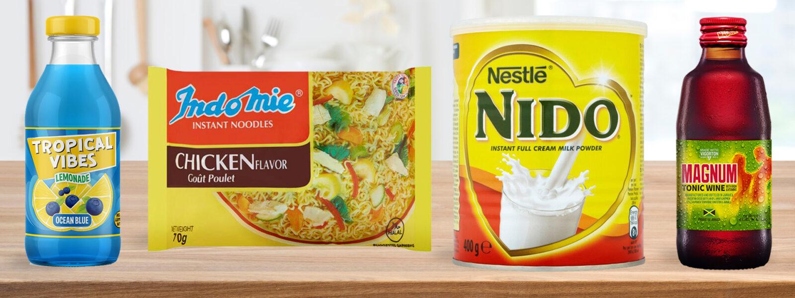 Wanis Homepage Carousel Tropical VIbes Ocean Blue Indomie Chicken Noodles Nido Milk Powder Magnum Tonic Drink Wholesale